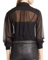 Polo Ralph Lauren - Black Ruffled Silk Chiffon Blouse - Lyst