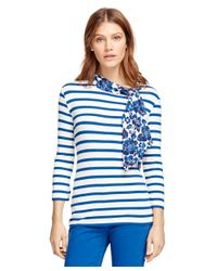Brooks Brothers | Blue Boatneck Stripe Shirt With Silk Tie | Lyst