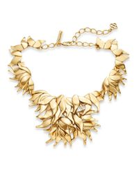 Oscar de la Renta | Metallic Leaf Collar Necklace/goldtone | Lyst