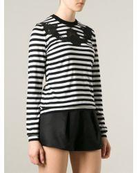 Dolce & Gabbana - Black Lace Detail Striped Top - Lyst