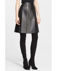 St. John - Black Pleated Nappa Leather & Silk Skirt - Lyst