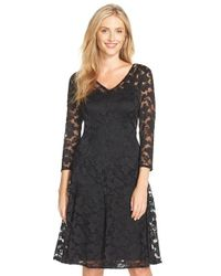 Chetta B - Black Lace Fit & Flare Dress - Lyst