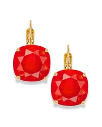 kate spade new york | New York Earrings Goldtone Red Small Stone Leverback Earrings | Lyst
