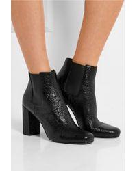 Saint Laurent - Black Babies Cracked-leather Ankle Boots - Lyst