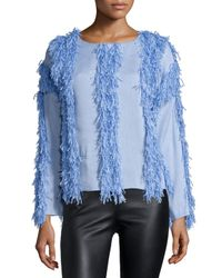 Opening Ceremony   Blue Raffia Welt Long-sleeve Pullover   Lyst