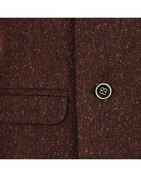 River Island - Brown Dark Red Tweed Wool-blend Waistcoat for Men - Lyst