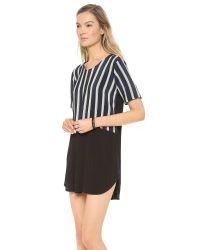 Mason by Michelle Mason - Blue Silk Front Tee Dress Navy Stripeblack - Lyst