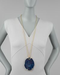 Kenneth Jay Lane | Blue Agate Pendant Necklace | Lyst