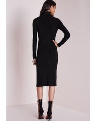 Missguided - Polo Neck High Split Knitted Midi Dress Black - Lyst