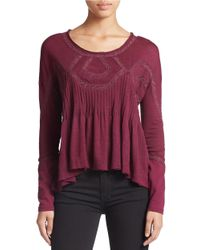 Free People - Purple Embroidered Babydoll Top - Lyst