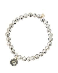 Sydney Evan - Metallic 6Mm Faceted Silver Pyrite Beaded Bracelet With 14K Gold/Rhodium Diamond Small Evil Eye Charm (Made To Order) - Lyst