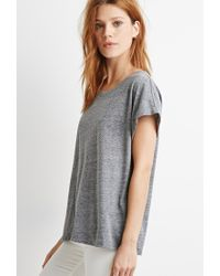 Forever 21 - Gray Cuffed-sleeve Heathered Tee - Lyst