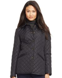 Lauren by Ralph Lauren Black Faux Leather & Shearling Trim Quilted Jacket