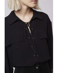 TOPSHOP - Black Tall Tie-up Pocket Blouse - Lyst