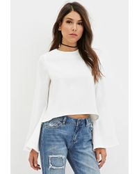 Forever 21 - Natural High-neck Bell-sleeve Top - Lyst