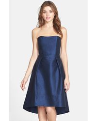 Alfred Sung | Blue Strapless High/low Dupioni Dress | Lyst