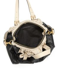 Marc By Marc Jacobs Black Twotone Gathered Leather Satchel