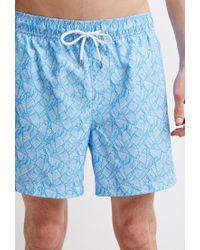 Forever 21   Blue Leaf Print Swim Trunks for Men   Lyst