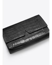 Vince - Black Croc-Embossed Leather Clutch - Lyst