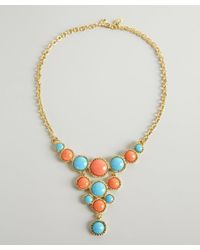 Kenneth Jay Lane | Multicolor Coral And Turquoise Stone Bib Necklace | Lyst