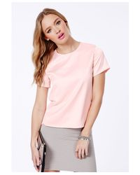 Missguided - Pink Elvina Satin Feel Boxy Top - Lyst
