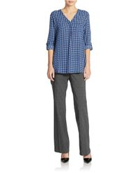 Lord & Taylor - Blue Plus Patterned Blouse - Lyst