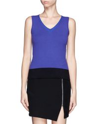 Armani - Purple Colourblock Sleeveless Knit Top - Lyst