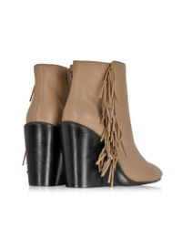 See By Chloé - Brown Rex Biscuit Leather Wedge Ankle Bootie W/fringe - Lyst