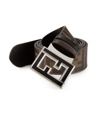Fendi | Black Zucca Reversible Leather Belt for Men | Lyst
