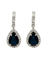 Carolee - Metallic Simply Blue Half Hoop Pear Drop Earrings - Lyst