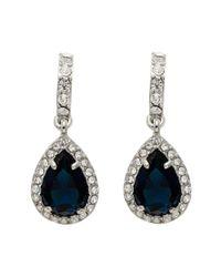 Carolee | Metallic Simply Blue Half Hoop Pear Drop Earrings | Lyst