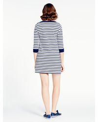 Kate Spade | Blue Striped Cotton Jersey Dress | Lyst
