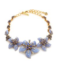 Oscar de la Renta | Blue Flower Bib Necklace | Lyst