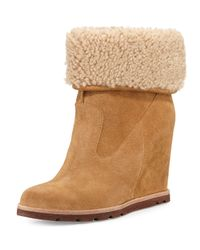 UGG - Brown Kyra Shearling Wedge Boots - Lyst