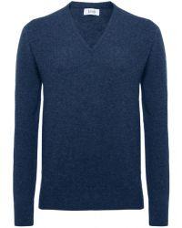 Jules B - Blue V-neck Lambswool Sweater for Men - Lyst