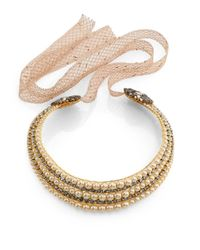 Erickson Beamon | Metallic Stratosphere Crystal & Faux Pearl Ribbon Collar Necklace | Lyst