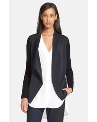VINCE | Black Ribbed Sleeve Drape Front Jacket | Lyst