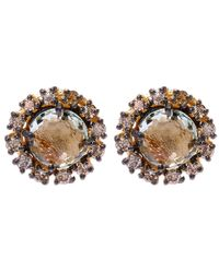 Suzanne Kalan | Metallic Gold Amethyst Centre Diamond Stud Earrings | Lyst