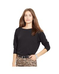 Ralph Lauren - Black Dropped-shoulder Cotton Tee - Lyst