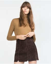 Zara | Brown Polo Neck Top | Lyst