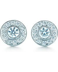 Tiffany & Co. - Blue Tiffany Circlet Earrings With Diamonds In Platinum, Mini - Lyst