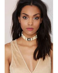 Nasty Gal - Natural Dorado Beaded Choker Necklace - Lyst