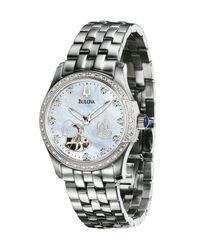 Bulova | Gray Women'S Automatic Stainless Steel Bracelet Watch 34Mm 96R122 | Lyst