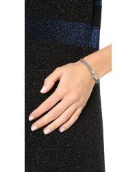 Tory Burch - Skinny Lock Leather Bracelet - French Gray/tory Silver - Lyst