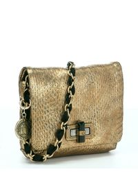 Lanvin - Metallic Gold Snake Embossed Sheepskin 'happy Mini Pop' Chain Shoulder Bag - Lyst