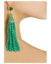 Kenneth Jay Lane - Green Goldplated Beaded Tassel Earrings - Lyst