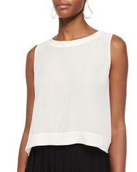 Eileen Fisher - White Button-back Silk Crop Shell - Lyst