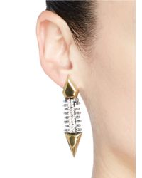 Iosselliani | Metallic Zircon Pavé Brass Arrow Clip Earrings | Lyst