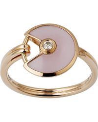 Cartier | White Amulette De 18ct Pink-gold, Pink Opal And Diamond Ring | Lyst