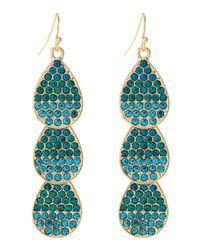Fragments - Blue Ombre Pavé Crystal Leaf Earrings - Lyst